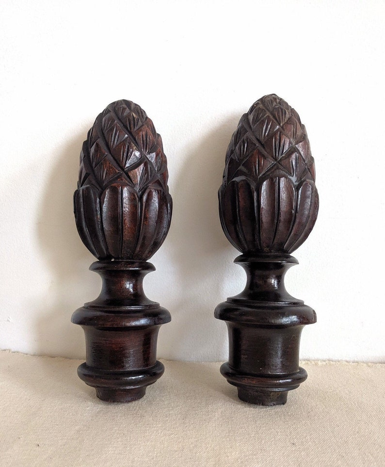 Wood Pineapple Post Finial Pair Hand Carved Dark Wood Set Of Two Pineapple Finials Architectural Salvage End Cap Topper