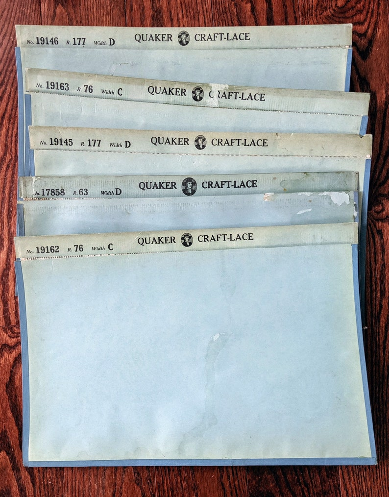 Quaker Craft Lace Lot Rare Vintage Crafting Lace Craft Supply Variety Large Sample Lace Five 18 x 24 Inch Pieces