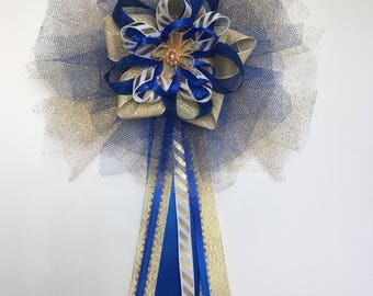 Gold and royal blue corsage
