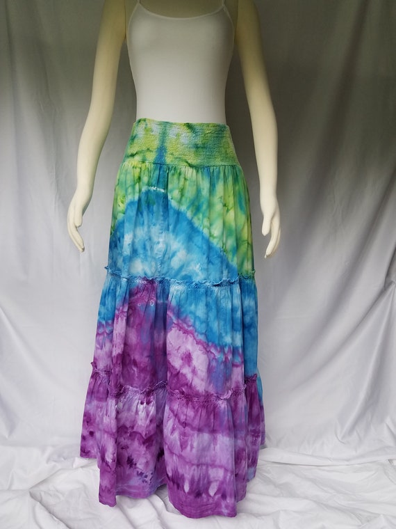 06e05d9e027 Tie Dye Maxi Skirt - Size XL - Cotton Tiered Skirt - Festival Skirt - Ice  Dye Maxi
