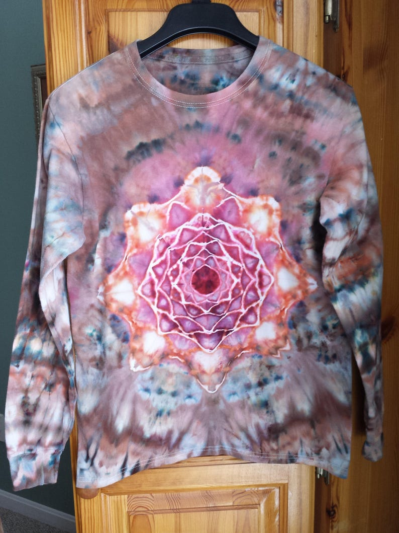 1ef7c152 Small Tie Dye Mandala Long Sleeve Ice Dyed Purple Orange | Etsy