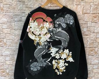 66988bc41 Rare Abstract Fish Design Tattoo Sweatshirt Long Sleeve Unisex XL size #1026 -30