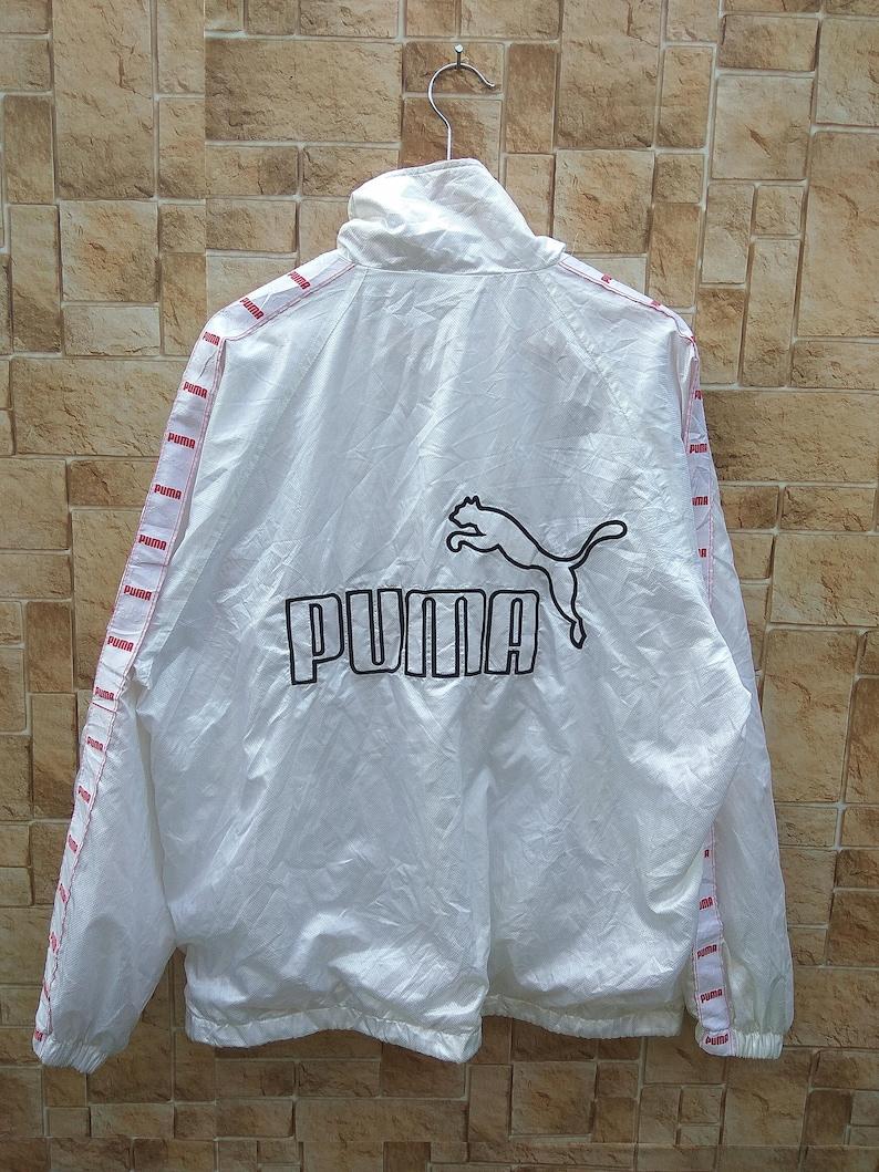 759045dd6079 Vintage PUMA BIG LOGO Windbreaker Sweater White Stripe Long