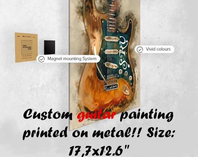 """Featured listing image: Custom guitar painting on metal plate 17,7x12.6"""" print on metal, music gift, guitar gift, gift for guitarist, music room, music studio decor"""