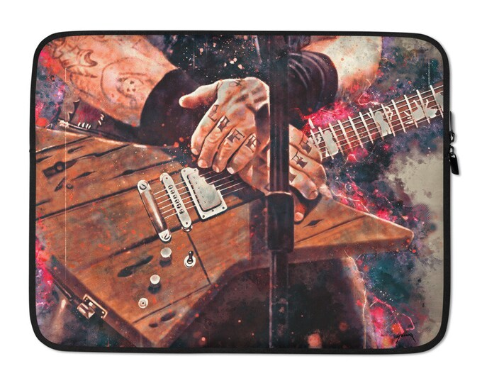 Featured listing image: James Hetfield's electric guitar, laptop sleeve, laptop case, guitar artwork, hand painted guitar, music gift, guitar gift