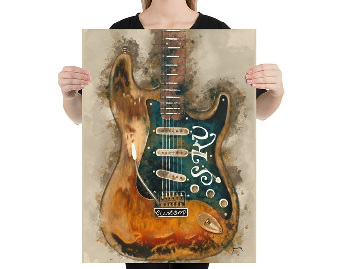 "Featured listing image: stevie ray vaughan's electric guitar 18x24"" guitar art, music wall art, music poster, music room decor, hand painted guitar, guitar gifts"