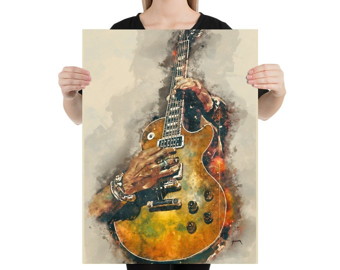 """Featured listing image: slash's electric guitar 18x24""""  guitar art, music wall art, music poster, music room decor, hand painted guitar, guitar gifts, music gift"""