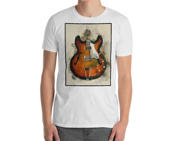 Featured listing image: John Lennon's guitar, unisex t-shirt, music tshirt, music apparel, electric guitar, rock and roll art, guitar gift, gift for guitarist