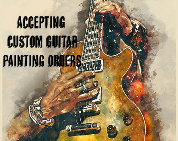 """Featured listing image: downloadable, custom music poster 18x24"""", guitar wall art, personalized artwork, electric guitar art, guitar gift, gift for guitarist"""