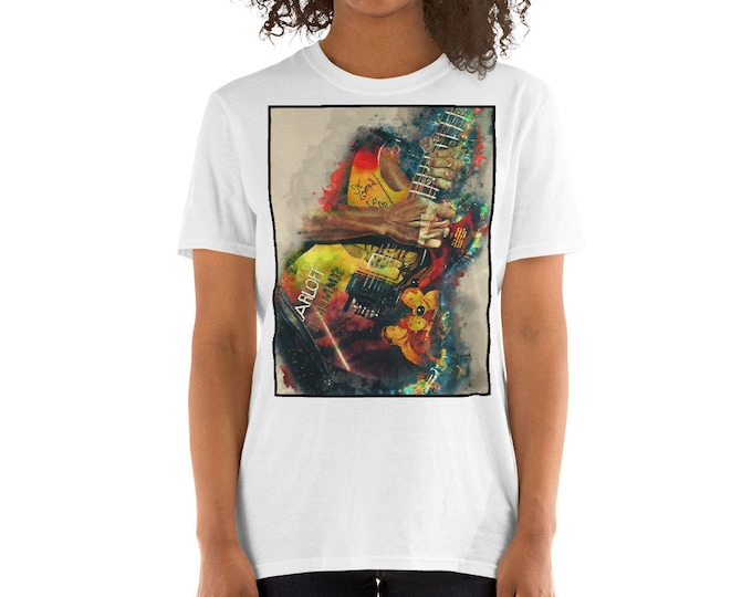 Featured listing image: Kirk Hammett's electric guitar, unisex t-shirt, music tshirt, music apparel, electric guitar, rock and roll art, guitar gift