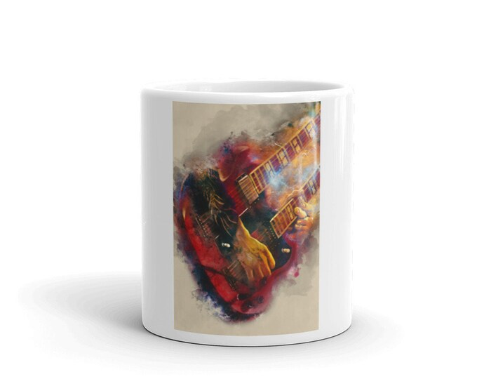 Featured listing image: page's guitar, guitar mug, music mug, guitar hero, hand painted guitar, guitar player gift, music teacher gift, gift for guitarist
