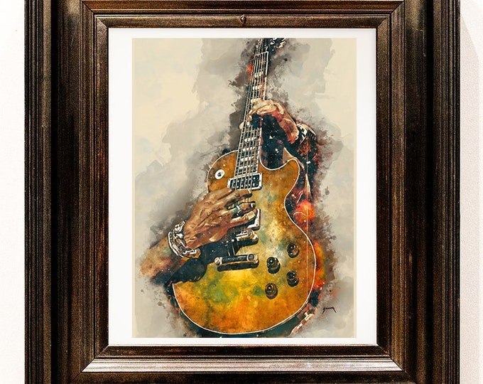 """Featured listing image: slash's electric guitar 12x16""""  guitar art, music wall art, music poster, music room decor, hand painted guitar, guitar gifts, music gift"""