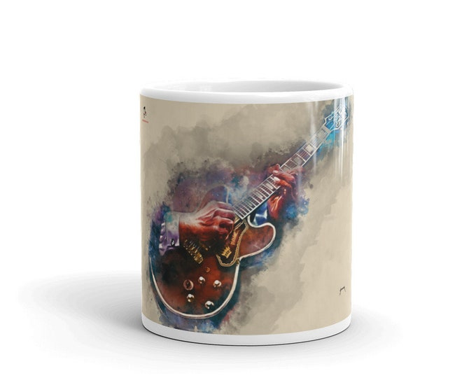 Featured listing image: BB's guitar, guitar mug, music mug, guitar hero, hand painted guitar, guitar player gift, music teacher gift, gift for guitarist