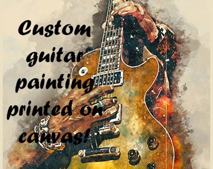 """Featured listing image: custom guitar painting, 18x24"""", printed on canvas, guitar wall art, personalized artwork, electric guitar, guitar gift, gift for guitarist"""