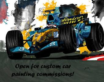"downloadable, custom car painting 18x24"",  car wall art, personalized artwork, car art, car gift, gift for car lovers"