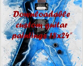 """downloadable, custom guitar painting 18x24"""", guitar wall art, personalized artwork, electric guitar art, guitar gift, gift for guitarist"""