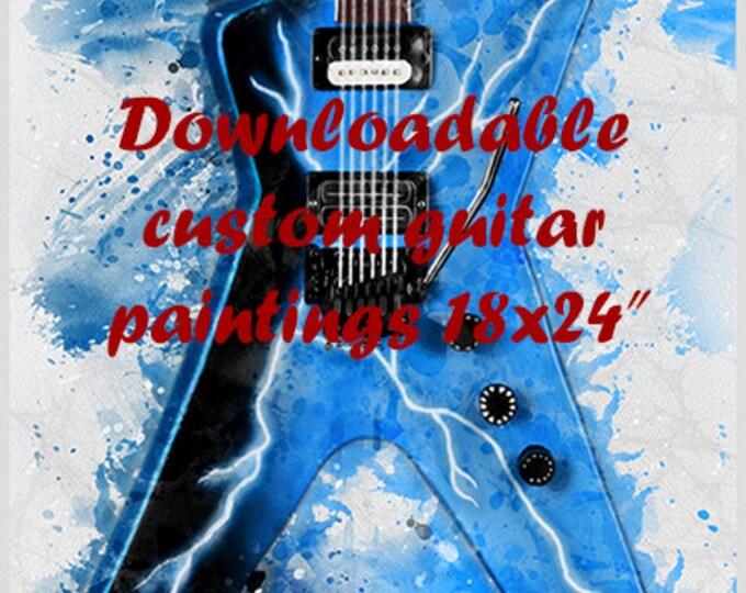 "Featured listing image: downloadable, custom guitar painting 18x24"", guitar wall art, personalized artwork, electric guitar art, guitar gift, gift for guitarist"