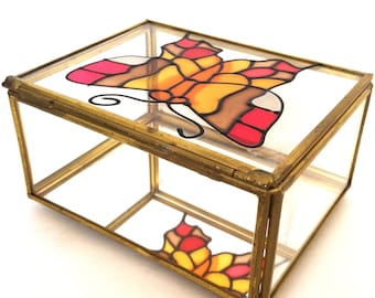 Vintage Jewelry Box | Stained Glass Jewelry Box | 1970s