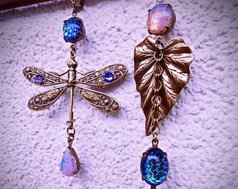snakeskin crystals with changing reflections pink fire opal Long Asymmetrical Loops Boho-ArtNew Libellule and Leaf