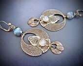 Earrings - hoop Art Nouveau small beetles to Labradorite high quality, revival Art deco Egyptian