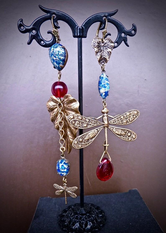 blue Opal red Czech glass beads Long earrings asymmetric Boho Art Nouveau Dragonflies and leaves