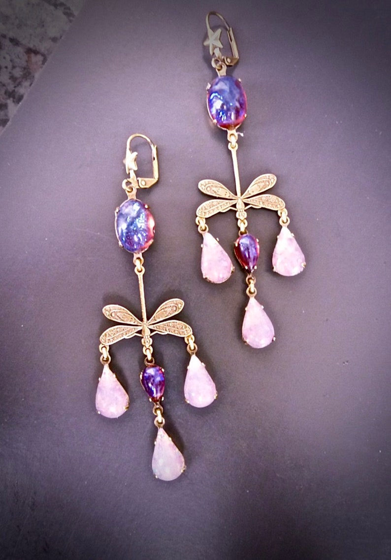 Art Nouveau earrings fire opal Dragonfly roses fuchsia and pale pink Antique brass bronze and duo with pink Opal