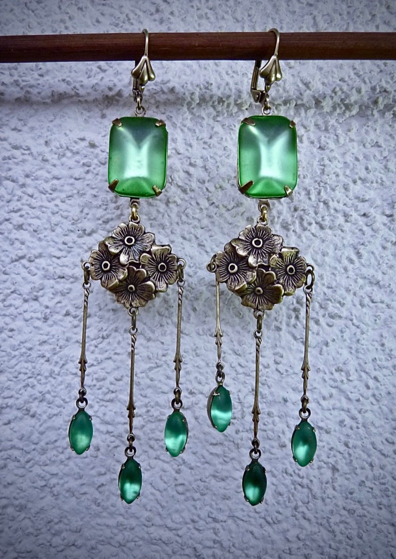 rare Czech crystals Earrings Art Nouveau Frosted Peridot antique bronze floral findings