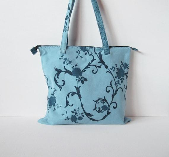 Tasche Stoff Blau Blaue Rosen Und Blumen Blauen Stoffbeutel Etsy