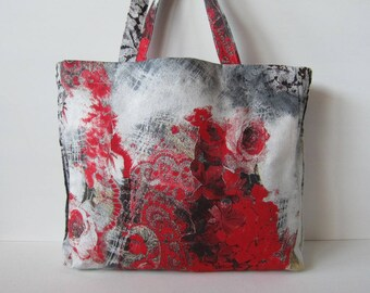 Open bag, fabric printed jeans with red flowers and roses, handmade handbags, jeans bag, bag with handles, gift idea