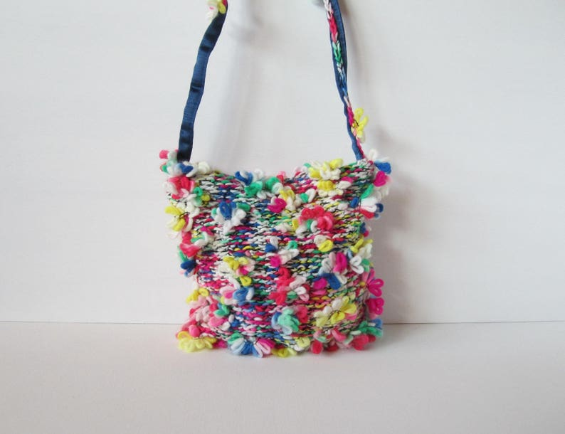 Knitted bag multicolored with floret yarn women s bags  1034106e6c0f5