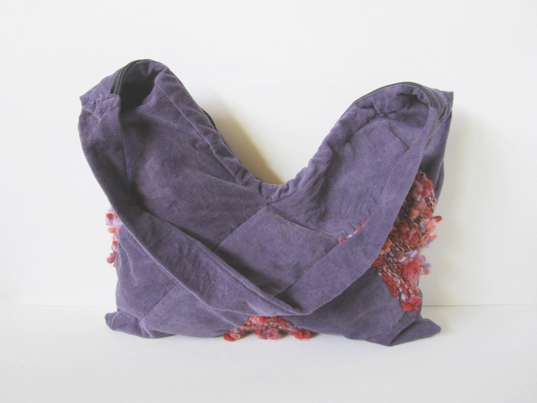 Purple Millerighe velvet bag cross bag with 3 squares knitted