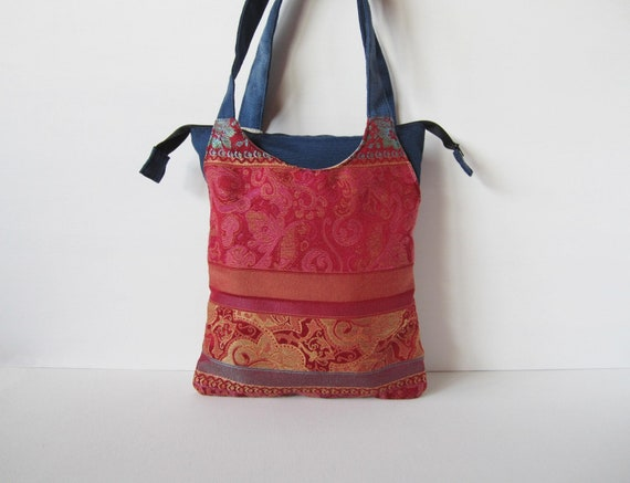 2d737fe17e31 Blue cloth bag with two red multicolor pockets handmade
