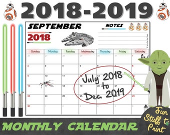 Wizard Calendar 2019 For Wizards And Harry Potter Fans Etsy