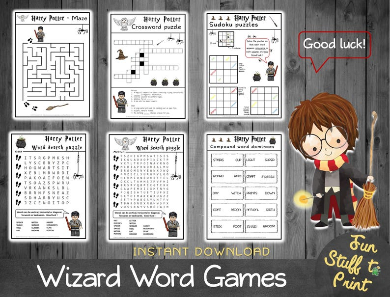 photo about Harry Potter Crossword Puzzle Printable named Wizard term Game titles - printable online games for children - puzzle, sudoku, term glimpse, maze, dominoes