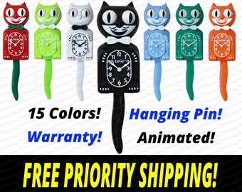 Genuine Gentleman Kit-Cat Klock Clock! Animated Eyes & Tail! - Warranty! FREE Priority Shipping! Made in USA! 14 Colors!