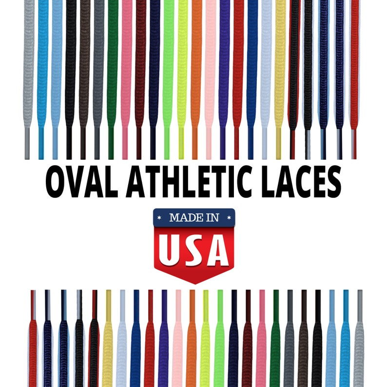 4e3fe71efad9b OVAL Sport Athletic Shoelace Strings - 20+ Beautiful Colors! Superior  Upgrade - ALL Sizes/Colors! Made in USA!