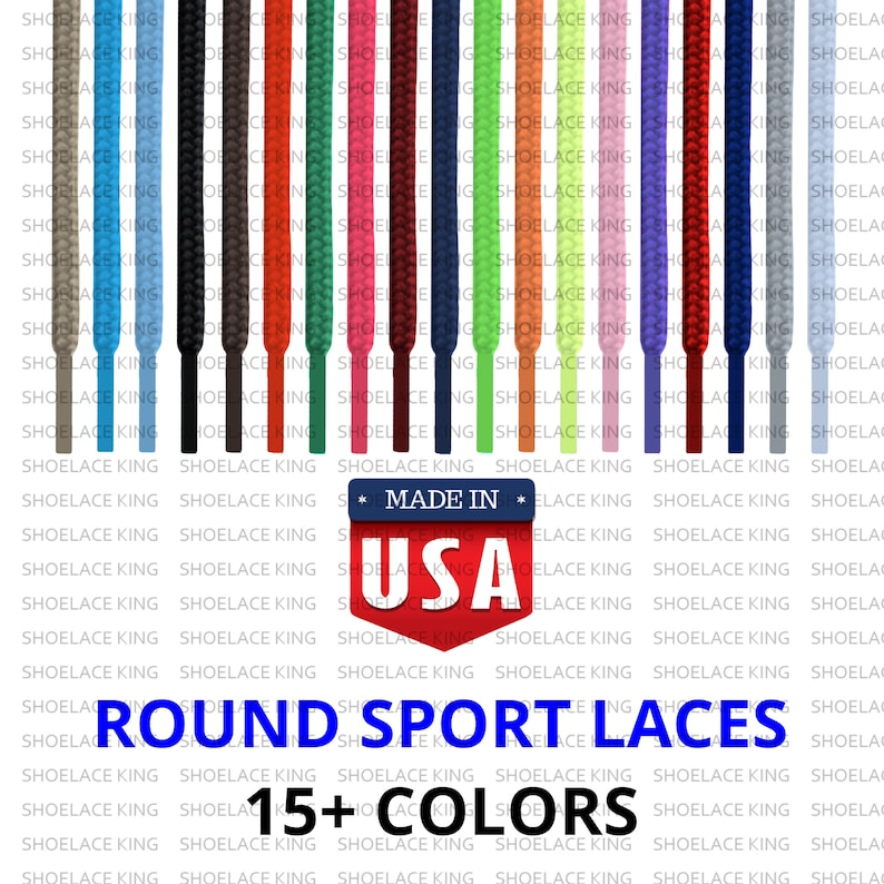 9f30b744dbb68 Round Athletic Sport Casual Lace Shoelace Strings - Premium Quality - All  Sizes & Colors - Made in USA - 15+ Colors