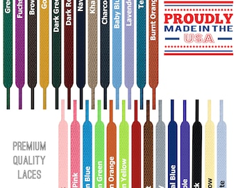 Flat Lace Shoelace Strings - Premium Quality - 27 36 40 45 54 63 72 Inches - Made in USA - 35+ Colors