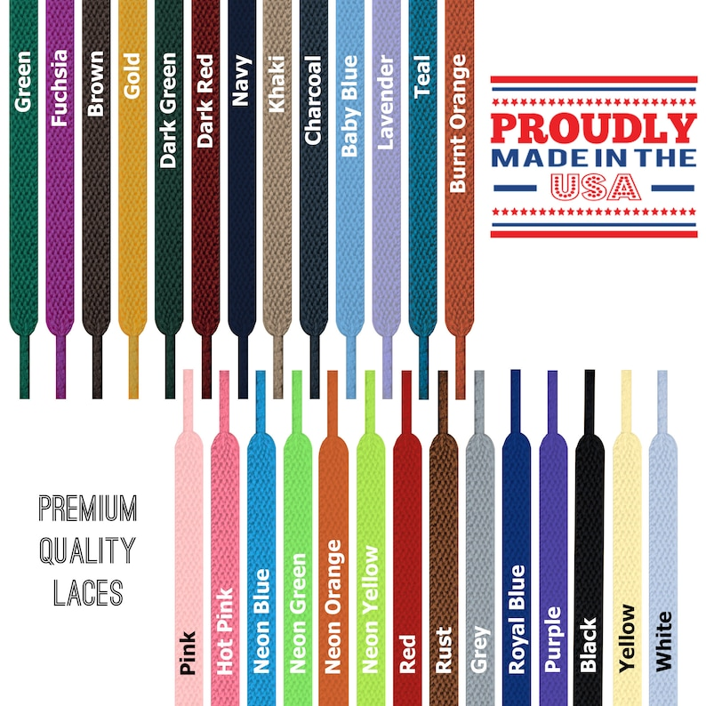 7a7cb10460672 FLAT Athletic Shoelaces - Premium Quality - Non-Fraying! Durable! - Made in  USA - 35+ Colors