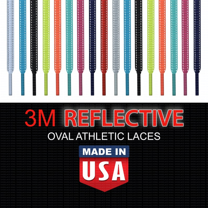 c2143d6476482 3M REFLECTIVE OVAL Athletic Shoelaces - Premium Braid - Non-Fraying! Made  in USA!