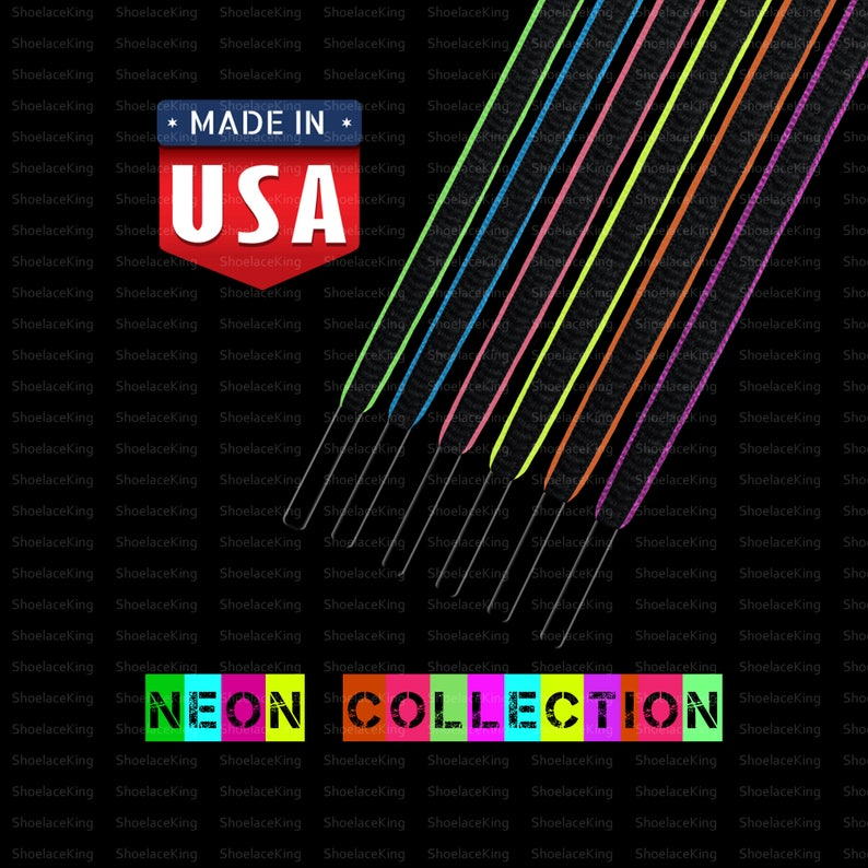 7c1ed93b6583d OVAL Sport Athletic Shoelace Strings 2-Tone(Color) Neon Collection -  Superior Upgrade! Premium Quality - All Sizes -Made in USA!