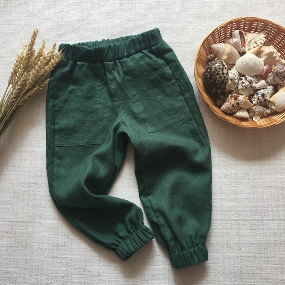 Boys pantaloons Children trousers Linen clothing Linen Basic Pants Kids linen pants with pockets Baby boy linen suit Baby linen pants