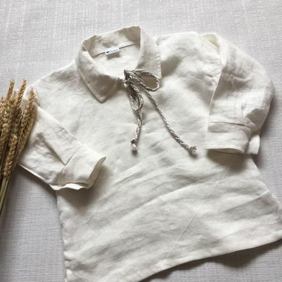 Neues Produkt günstig exzellente Qualität Kinder Leinen Kleidung Kleinkind natürliche Leinenhemd Longe Kurzarm Shirt  Unisex Kleidung Anlass Kleidung Taufe Outfit Sommer-outfit