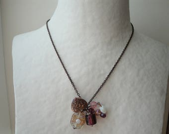 Bronze pendant chain necklace pink and copper beads