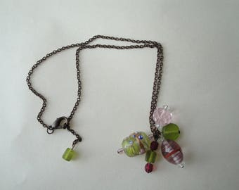 Bronze pendant chain necklace pink and green beads