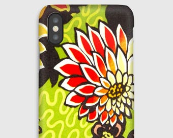 Case for iPhone X 8, 8 +, 7, 7 +, 6s, 6, 6s +, 6, 5 c, 5, 5s 5SE, 4s, 4 Liberty Meandering Chrysanthemums celadon