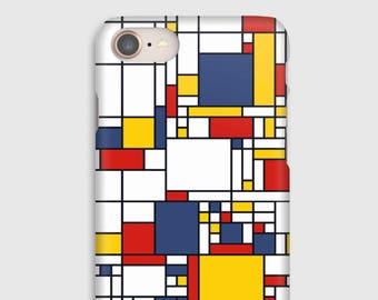 Case for iPhone X 8, 8 +, 7, 7 +, 6s, 6, 6s +, 6, 5 c, 5, 5s 5SE, 4s, 4, Mondrian 2