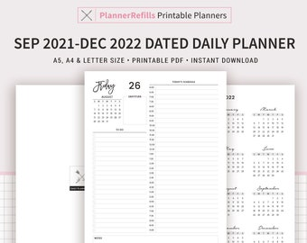 Sep 2021 - Dec 2022 Dated Daily Planner Printable, 16 Months, Daily Agenda, Daily Schedule, Planner Template, PDF, A5, A4, Letter Size