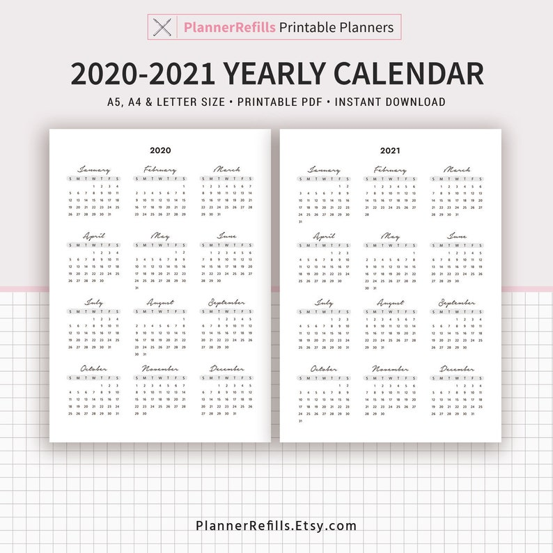 2020-2021 Yearly Calendar Year at a Glance Yearly Agenda ...