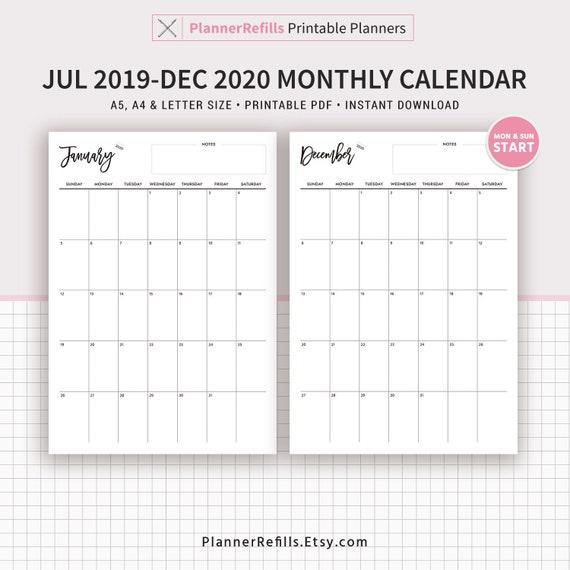 Calendrier Mensuel Decembre 2019.Calendrier Mensuel Date De Juillet 2019 A Decembre 2020 Calendrier De 18 Mois Planificateur Imprimable A4 Taille Des Lettres Filofax A5 Lundi Et